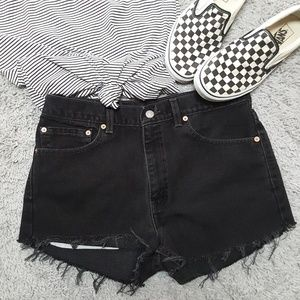 Levi's Shorts - Levis 512 Black Jean Cutoffs